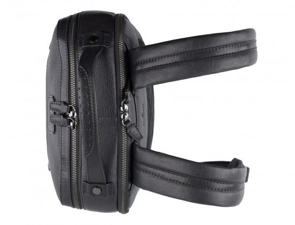 mochila vintage de piel para portátil negra asas