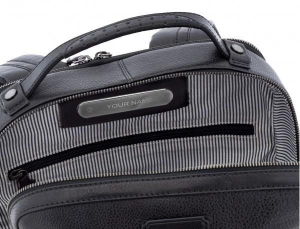 mochila vintage de piel para portátil negra personalizada