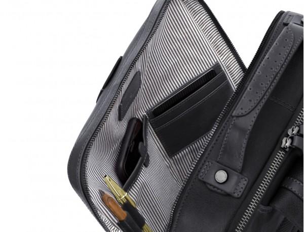leather vintage backpack black inside