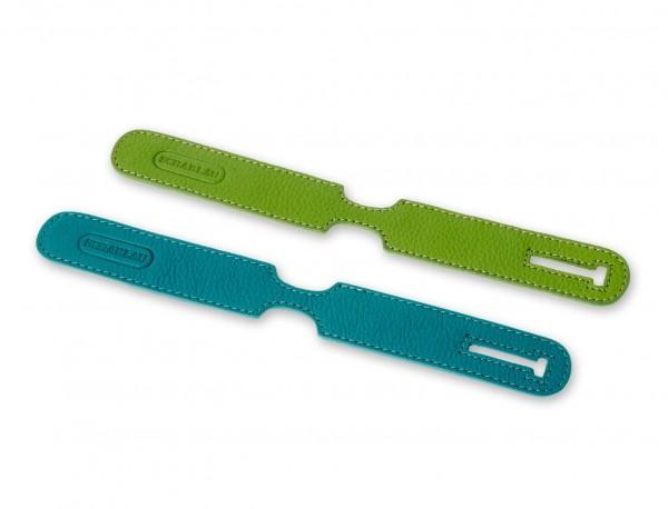 identificatori per valigie in pelle in verde pack da 2