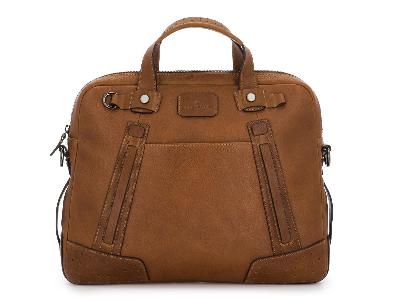 portadocumentos de cuero vintage marrón claro frontal