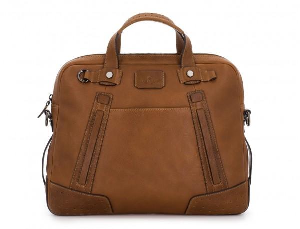 leather vintage laptop bag light brown front