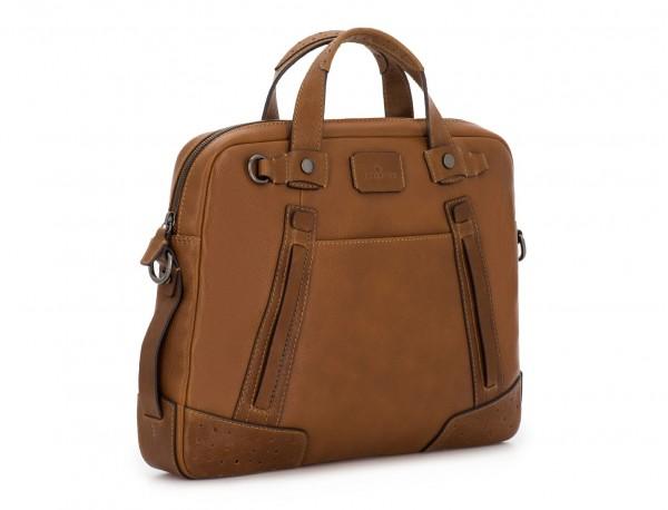 portadocumentos de cuero vintage marrón claro lado