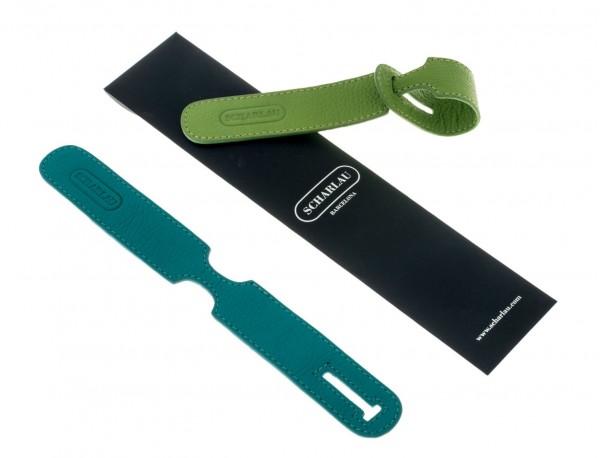 identificatori per valigie in pelle in verde packaging