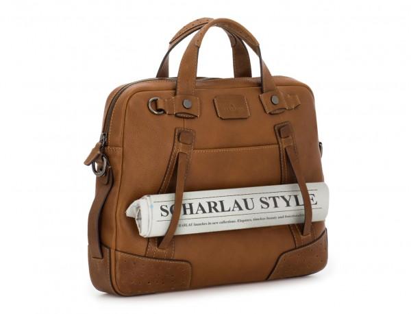 leather vintage laptop bag light brown detail