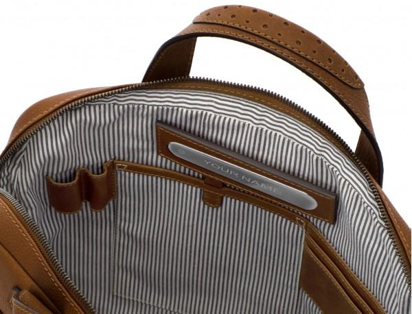 portadocumentos de cuero vintage marrón claro interior