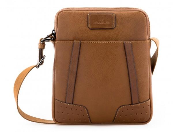 bolso bandolera de hombre en cuero marrón claro frontal