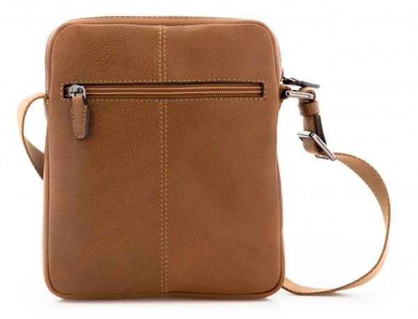 bolso bandolera de hombre en cuero marrón claro detrás