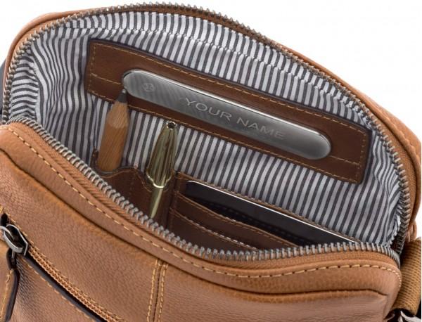 bolso bandolera de hombre en cuero marrón claro interior
