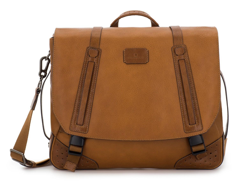bolso mensajero de cuero vintage marrón claro frontal