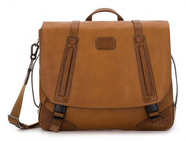 leather messenger bag vintage light brown front