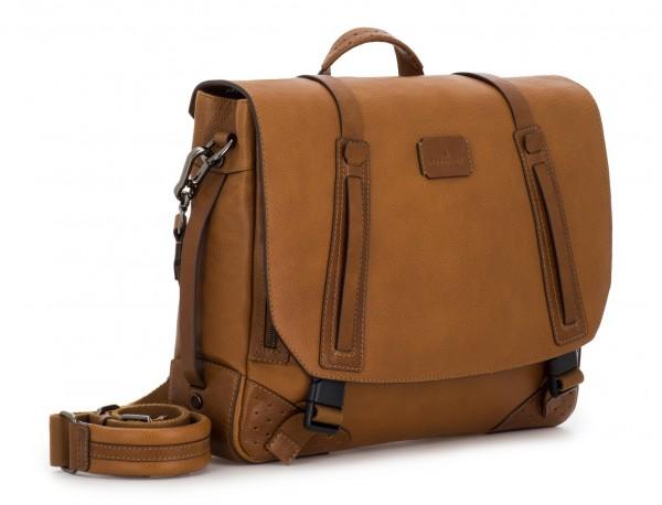 bolso mensajero de cuero vintage marrón claro lado