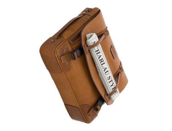 bolso mensajero de cuero vintage marrón claro base