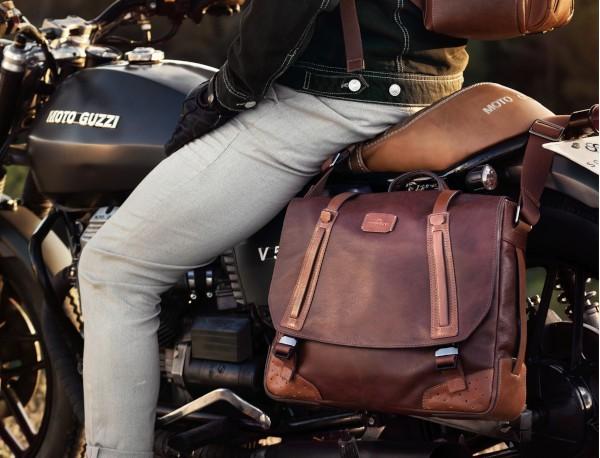 bolso mensajero de cuero vintage marrón claro modelo