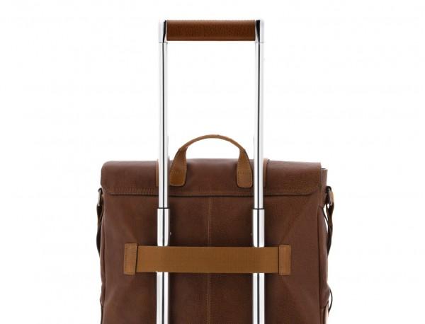 Cartella messenger in pelle vintage marrone chiaro trolley