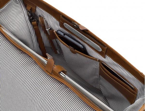 bolso mensajero de cuero vintage marrón claro interior