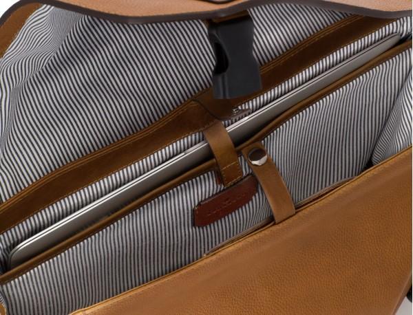 Cartella messenger in pelle vintage marrone chiaro laptop