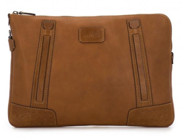 leather portfolio vintage light brown front