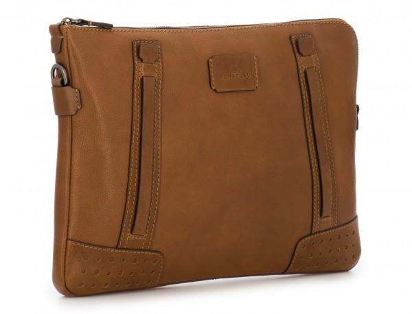 leather portfolio vintage light brown side