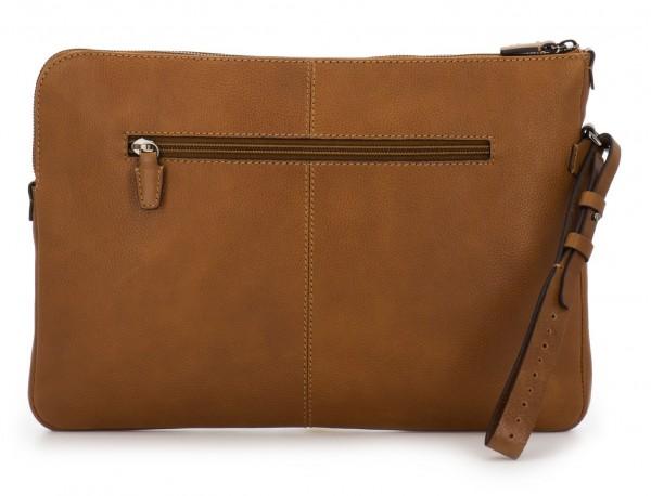 portadocumentos de piel vintage marrón claro detrás