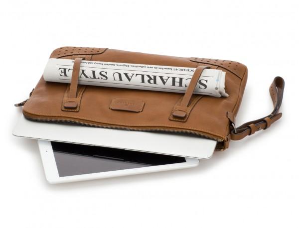 leather portfolio vintage light brown tablet