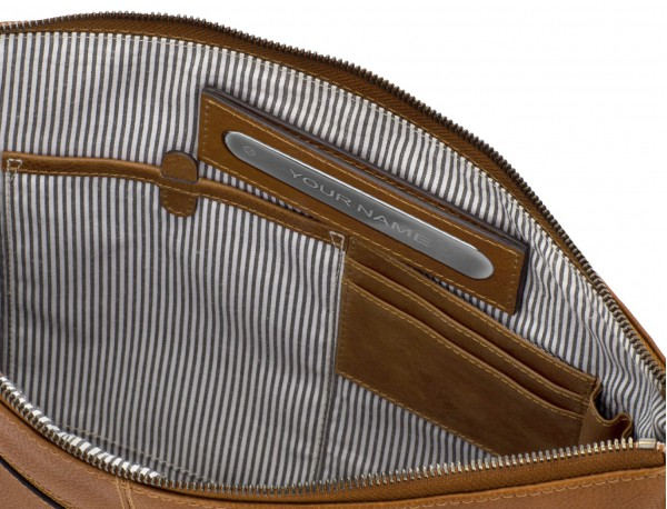 leather portfolio vintage light brown personalized
