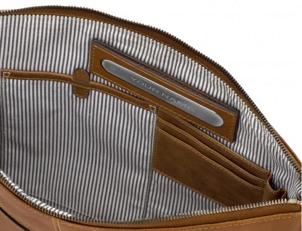 portadocumentos de piel vintage marrón claro personalizado