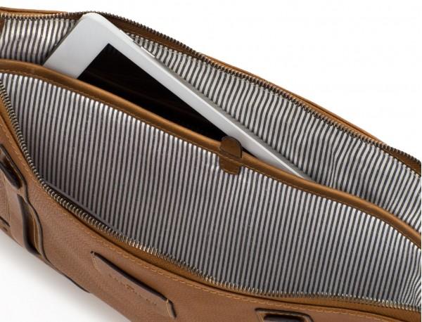portadocumentos de piel vintage marrón claro tablet