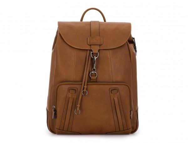 mochila de piel vintage marrón claro frontal