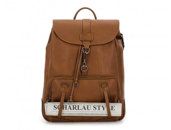 mochila de piel vintage marrón claro cierre