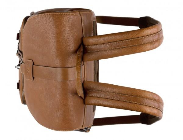 mochila de piel vintage marrón claro asas