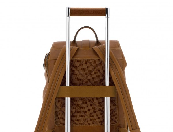 Zaino in pelle vintage marrone chiaro trolley