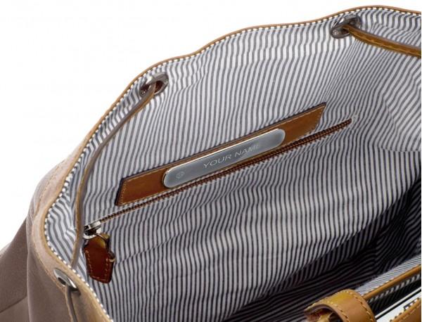 mochila de piel vintage marrón claro personalizada