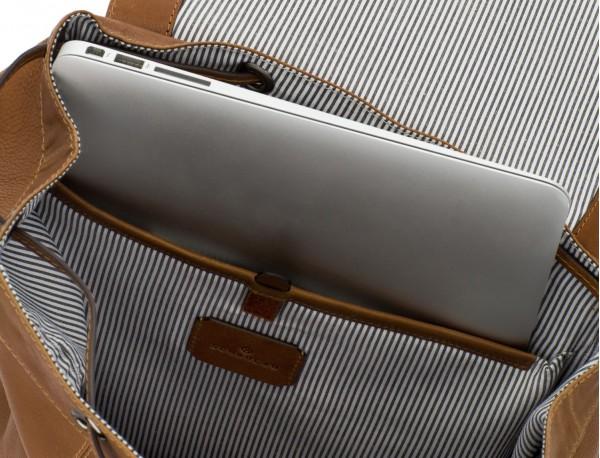 mochila de piel vintage marrón claro portátil