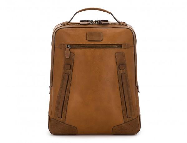mochila vintage de piel para portátil marrón claro frontal
