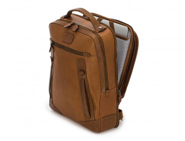 mochila vintage de piel para portátil marrón claro lado