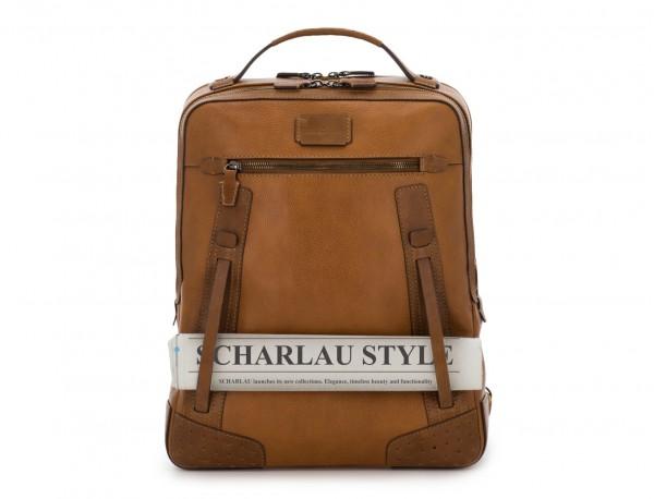 mochila vintage de piel para portátil marrón claro detalle