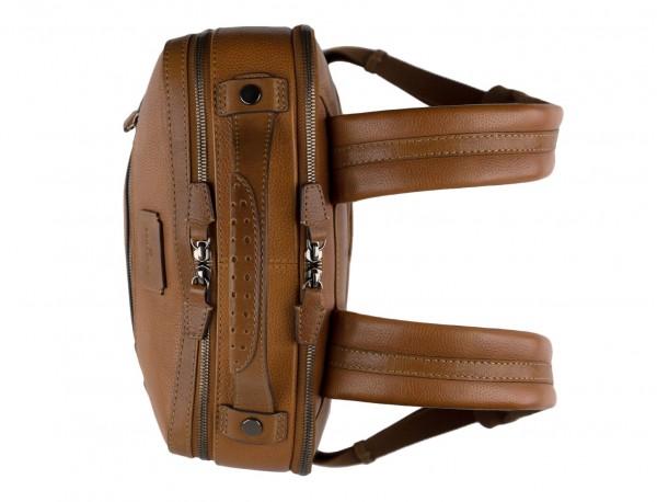 mochila vintage de piel para portátil marrón claro asas