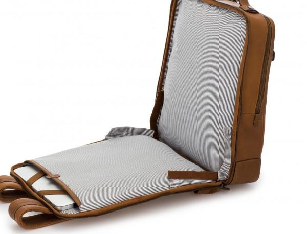 mochila vintage de piel para portátil marrón claro abierto