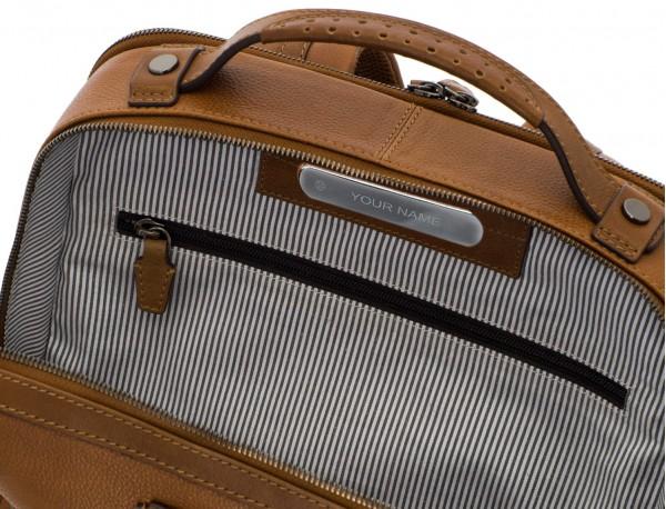 mochila vintage de piel para portátil marrón claro personalizado