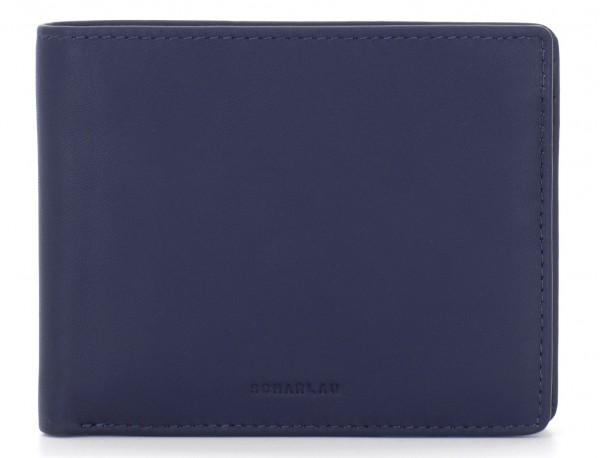 portafoglio in pelle portamonete blu front
