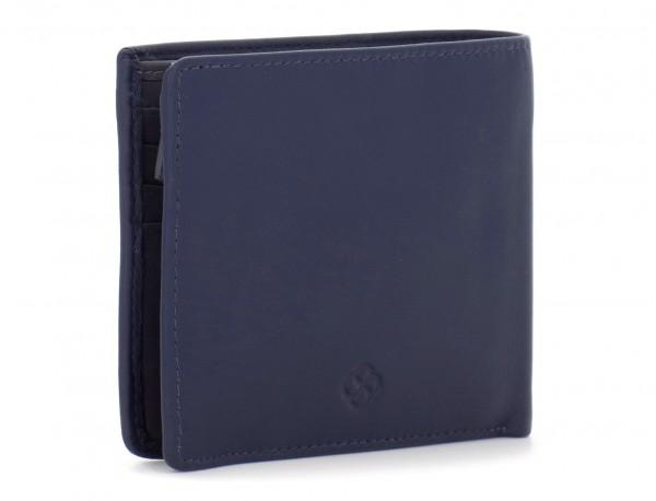 portafoglio in pelle portamonete blu side