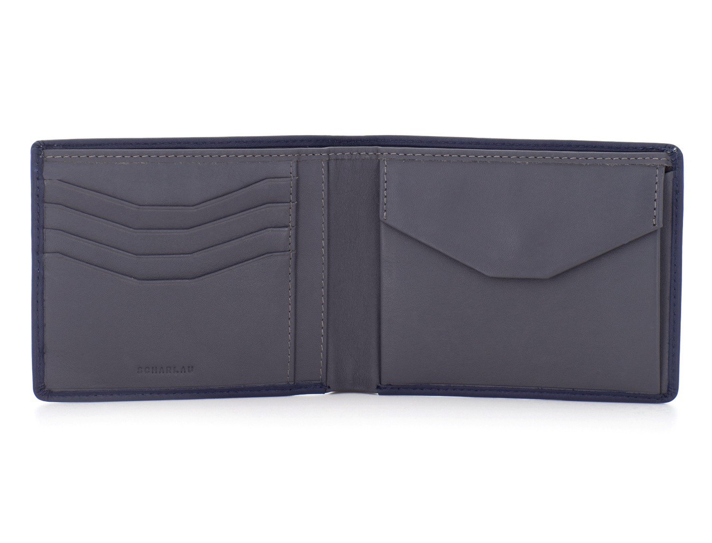 portafoglio in pelle portamonete nero open