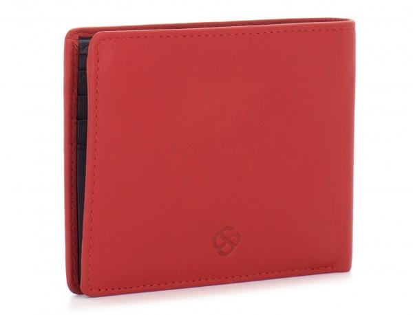 portafoglio in pelle portamonete rosso side