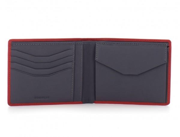 portafoglio in pelle portamonete rosso open