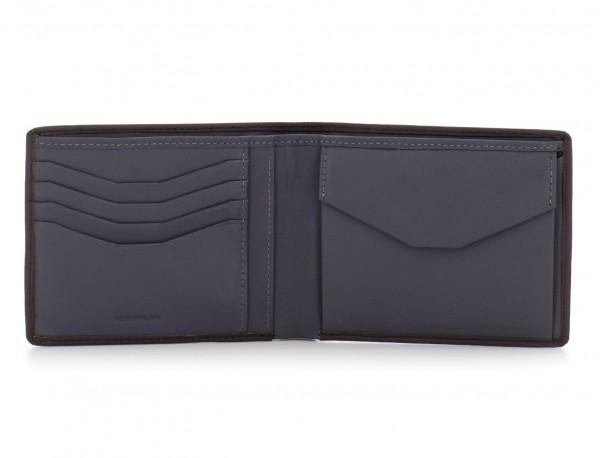 portafoglio in pelle portamonete marrone open