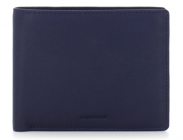 leather men wallet blue front