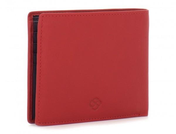 cartera de piel hombre rojo lado