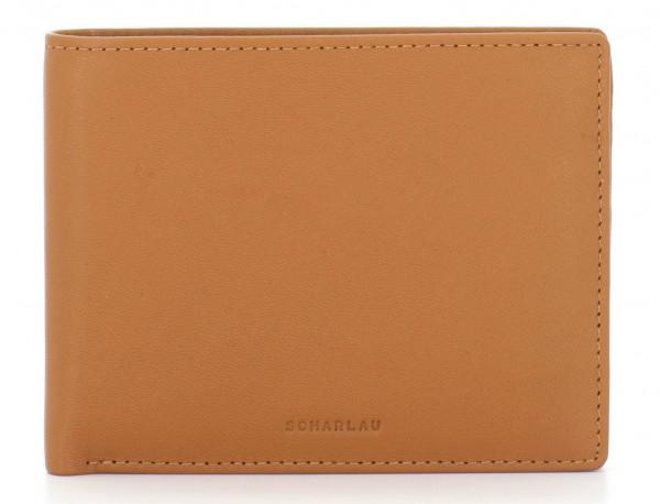 leather men wallet camel front
