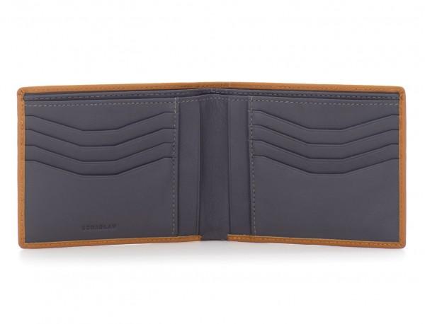 leather men wallet camel open